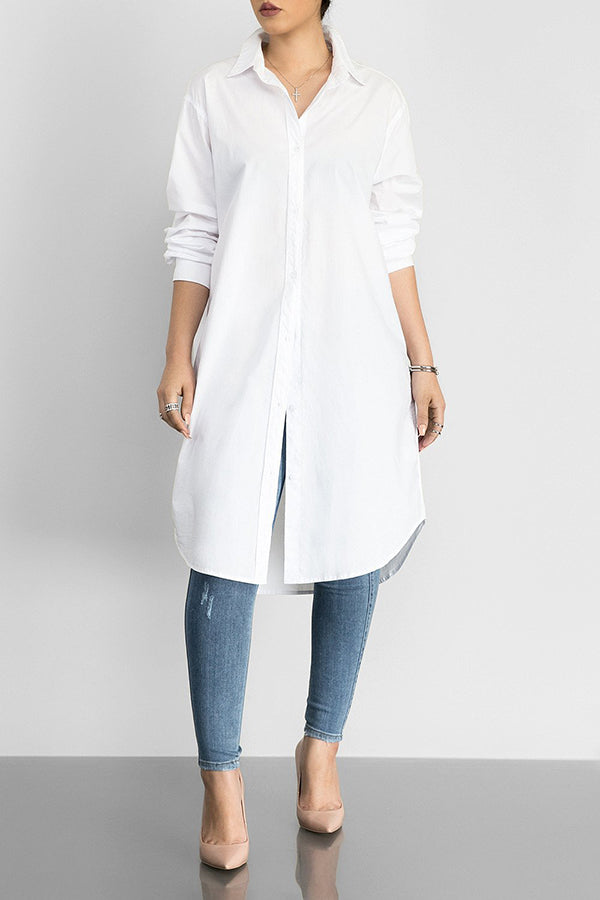 fed1a012ebb Turndown Collar Solid Color Long Sleeve T-shirt Dress