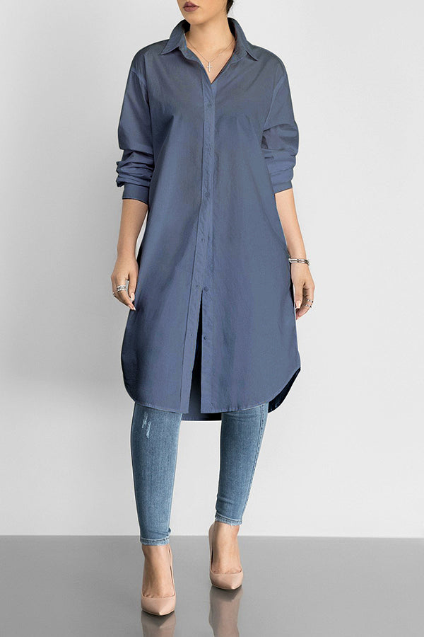 Turndown Collar Solid Color Long Sleeve T-shirt Dress