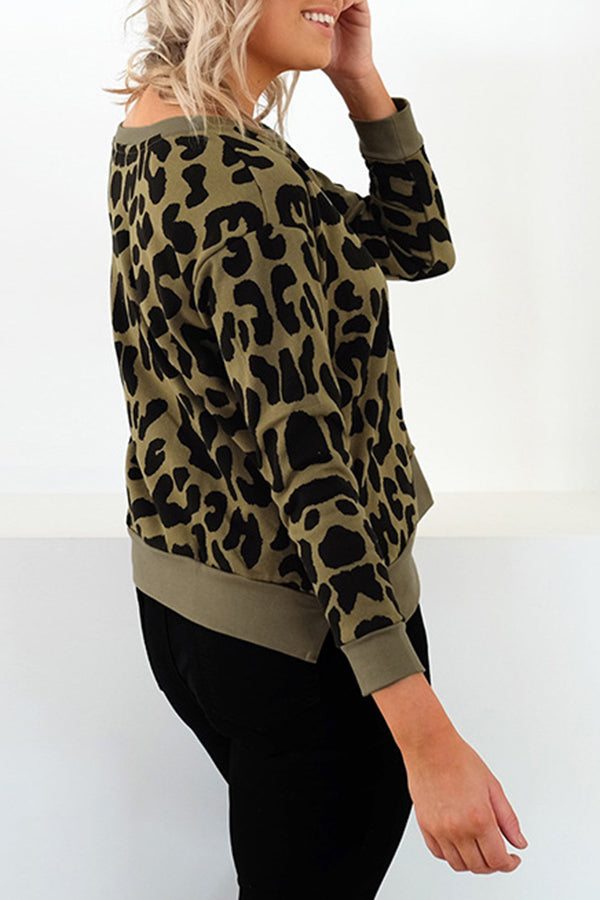 Animal Print Round Neck Long Sleeve Casual Blouse