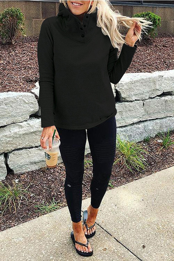 Solid Color High Neck Button Casual Sweatshirt