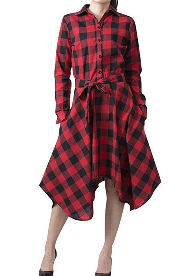 Lapel Irregular Checked Pocket Dress