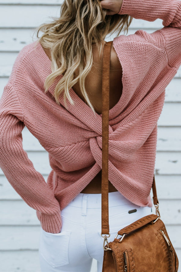 Solid Color Criss Cross Back Long Sleeve Casual Sweater