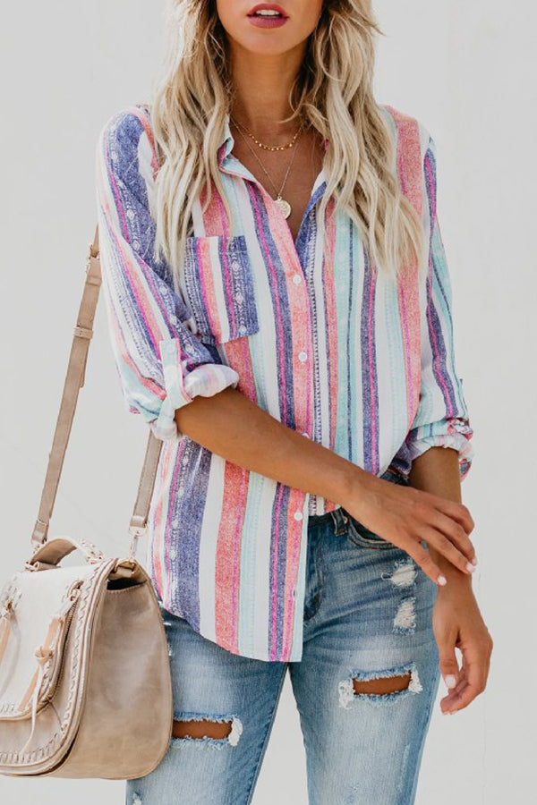 Turndown Collar Rainbow Stripe Pocket Button Shirt