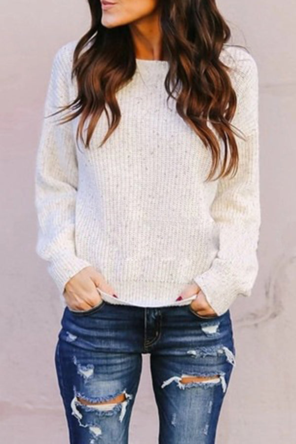 Round Neck Criss Cross Back Solid Color Casual Sweater