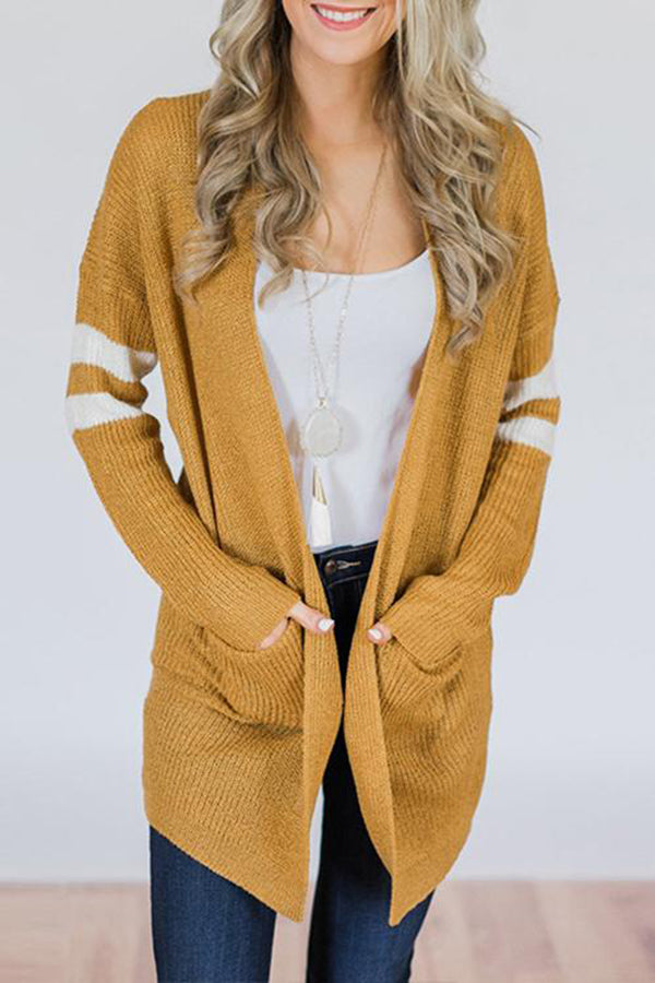 Plus Size Pocket Casual Long Sleeve Striped Cardigan