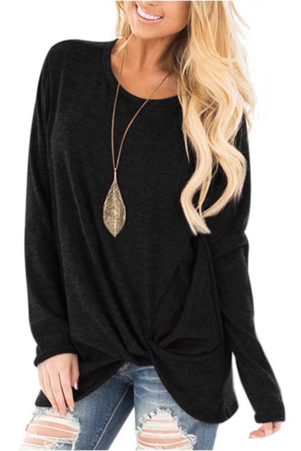 Knotted Solid Color Long Sleeve Round Neck Blouse