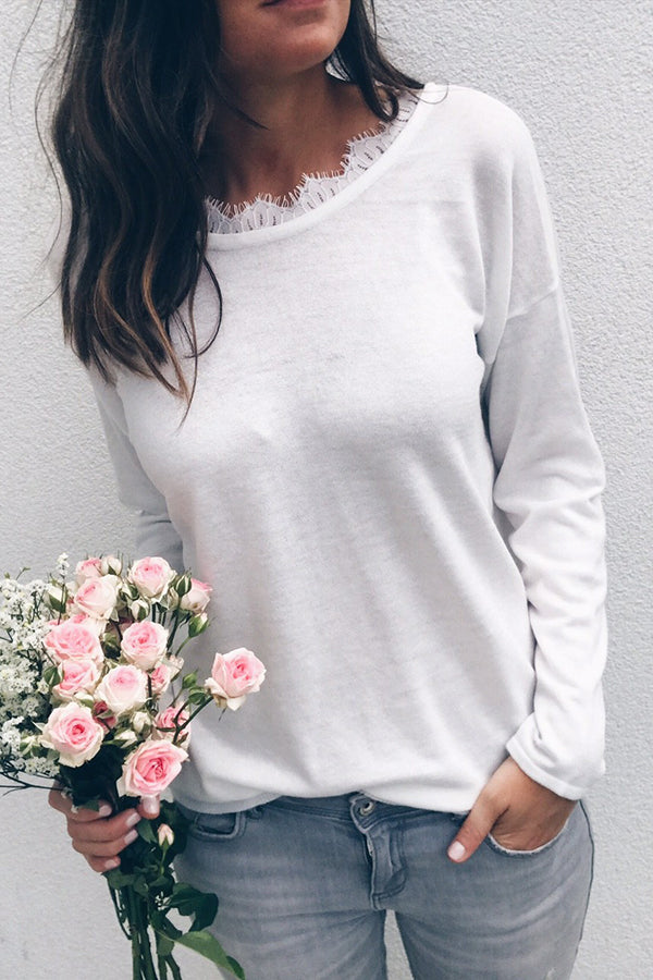 Lace Bandage Solid Color Long Sleeve Blouse