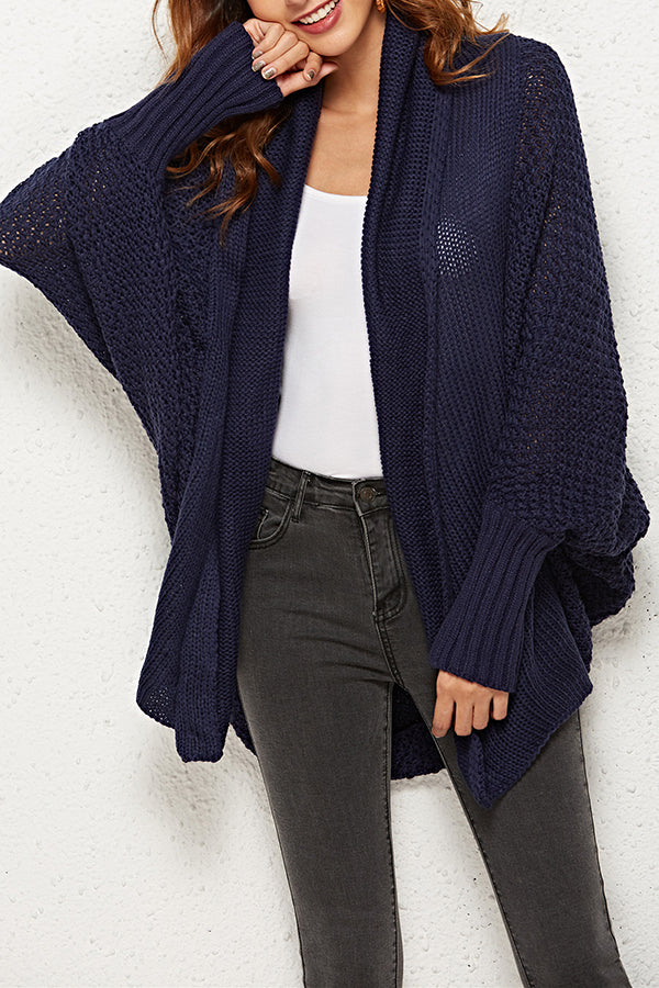 Batwing Sleeve Solid Color Contracted Style Cardigan