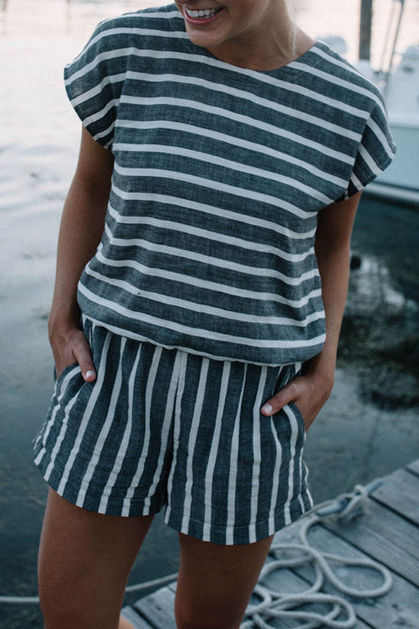 Round Neck Stripe Short Sleeve Contracted Style Romper