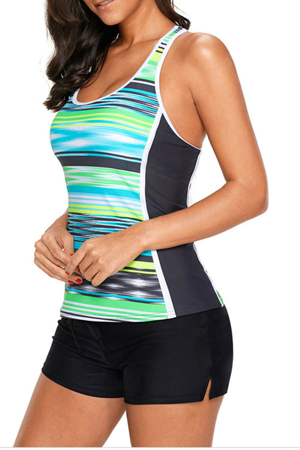 Color Block Sleeveless Tankini Swimwear