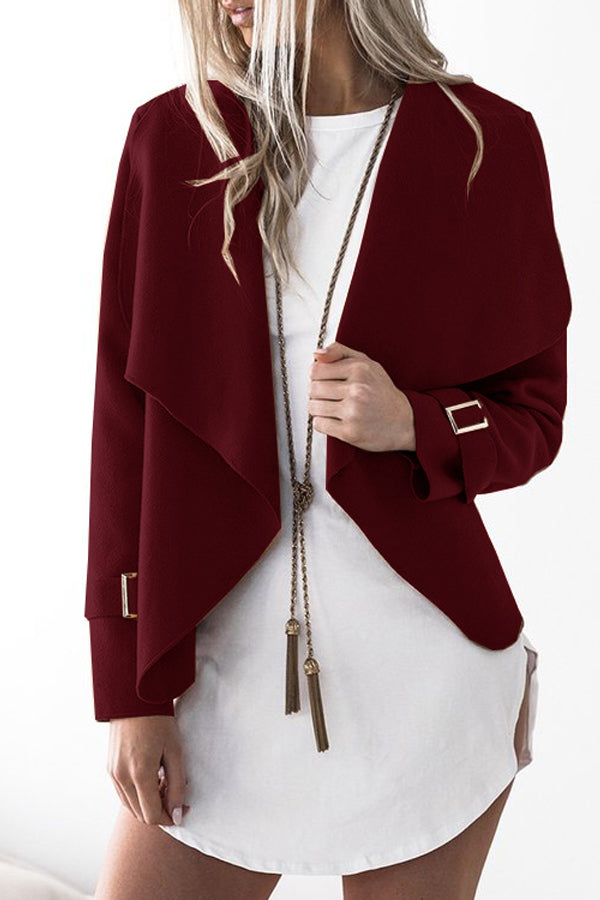 Solid Color Lapel Long Sleeve Coat