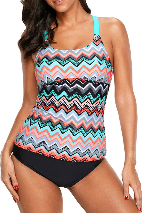 Multicolor Printed Sleeveless Bandage Tankini Swimwear