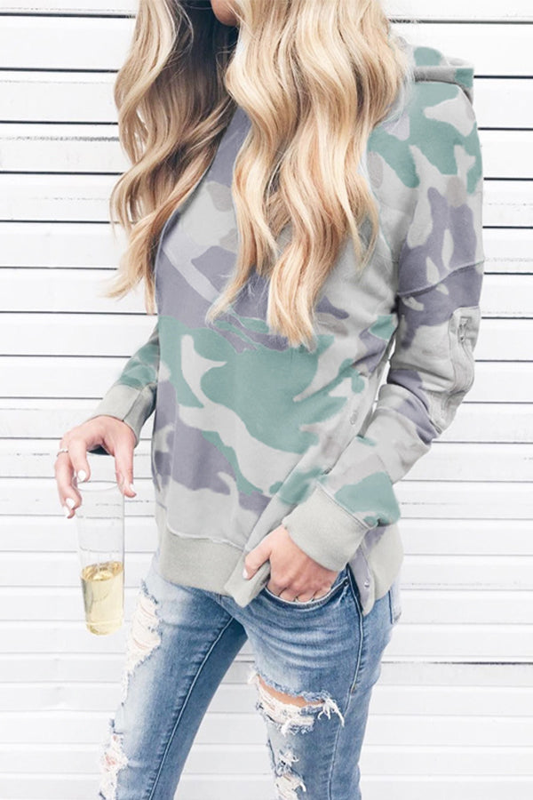 Long Sleeve Side Slit Casual Pocket Camouflage Hoodie