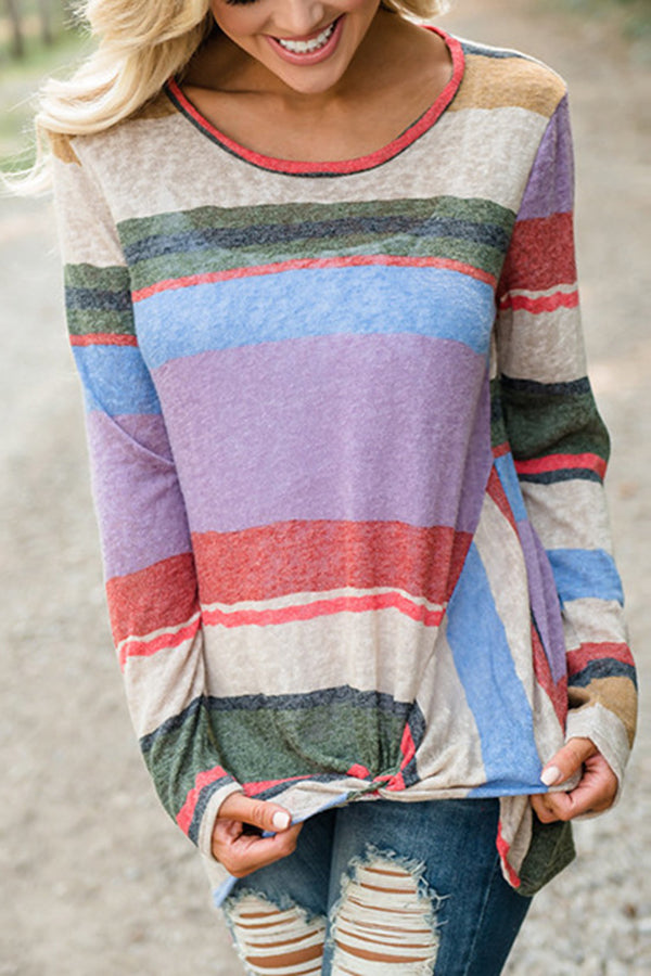 Knot Design Rainbow Stripe Long Sleeve T-Shirt