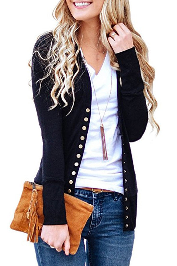 Knitted Button Solid Color Fastening Long Sleeve Cardigan