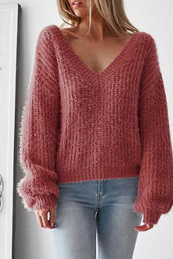 Sexy Backless V-neck Solid Color Sweater