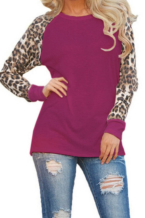 Leopard Print Round Neck Contracted Style Blouse