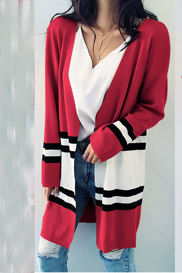Stripe Print Color Block Long Sleeve Cardigan