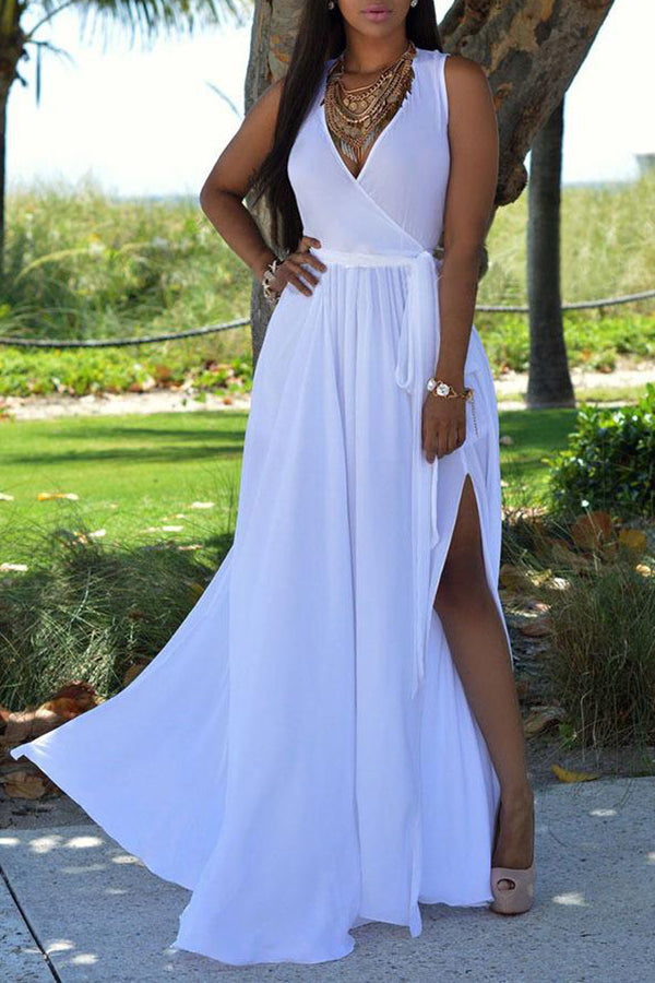 Solid Color Deep V Neck High Slit Dress
