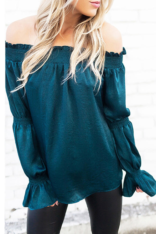 Off The Shoulder Flare Sleeve Contracted Style Blouse