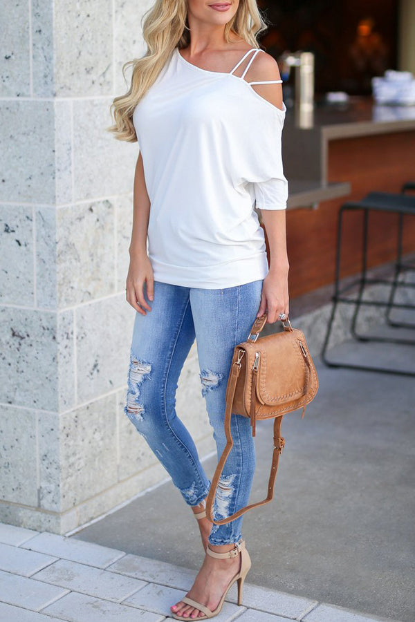 Casual Solid Color Cold Shoulder Contracted Style Blouse