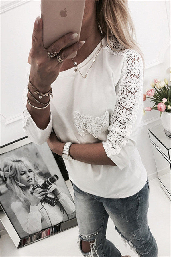 Three Quarter Sleeve Round Neck Lace Top