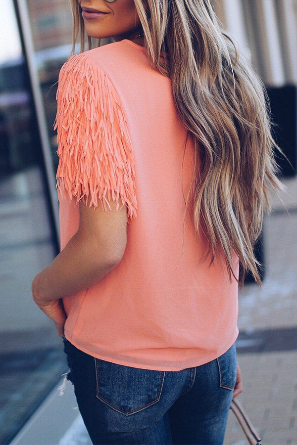 Solid Color Tassel Short Sleeve Top