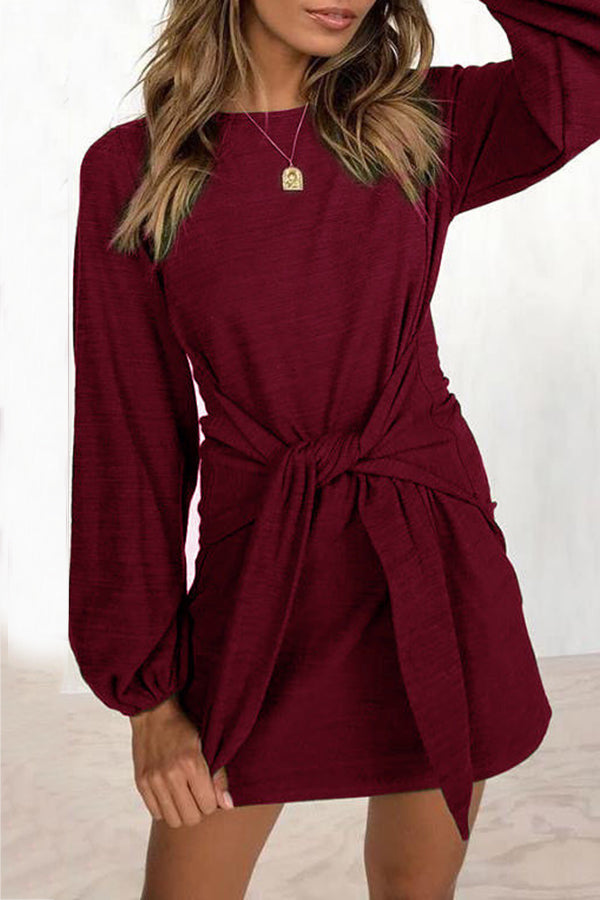Long Puff Sleeve Solid Color Knot Mini Dress