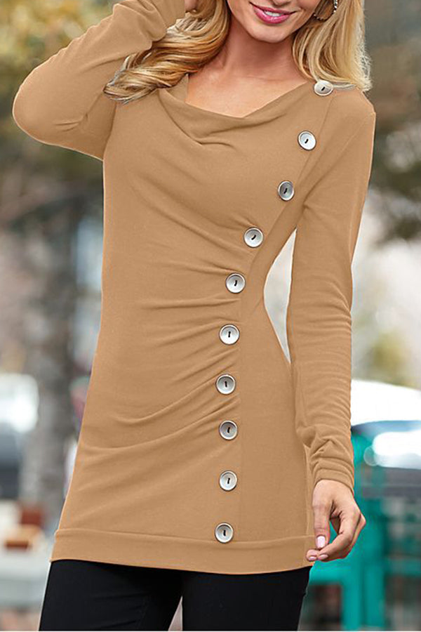Cowl Neck Long Sleeve Solid Color Button Blouse