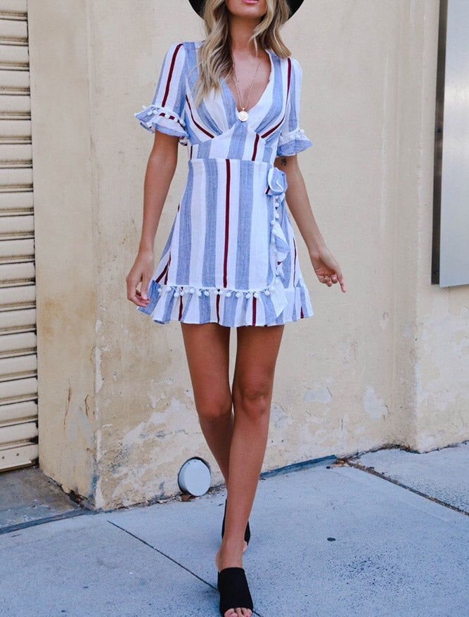 Multicolor Stripe Splicing Deep V Neck Short Sleeve Dress