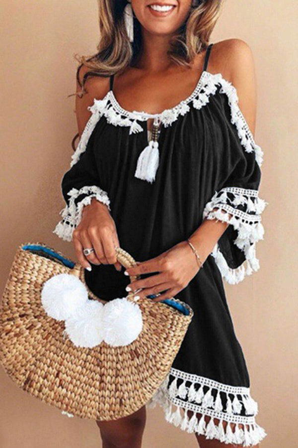 Cold Shoulder Fringe Half Sleeve Holiday Dress