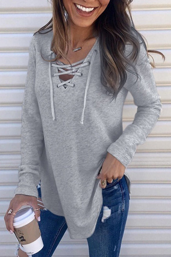 Lace Up Neckline Solid Color Long Sleeve Blouse