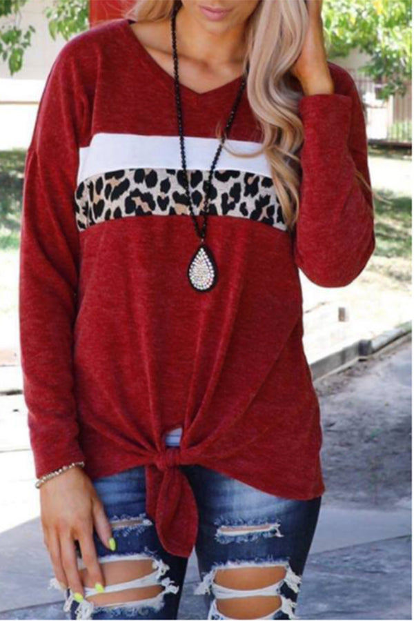 Leopard Print Splicing Knotted Hem V-Neck Blouse