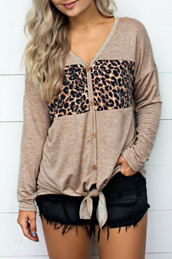 V-Neck Button Leopard Print Bandage Casual Blouse