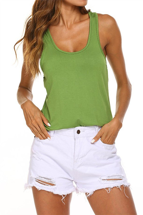 Cutout Back Scoop Neck Solid Color Tank Top