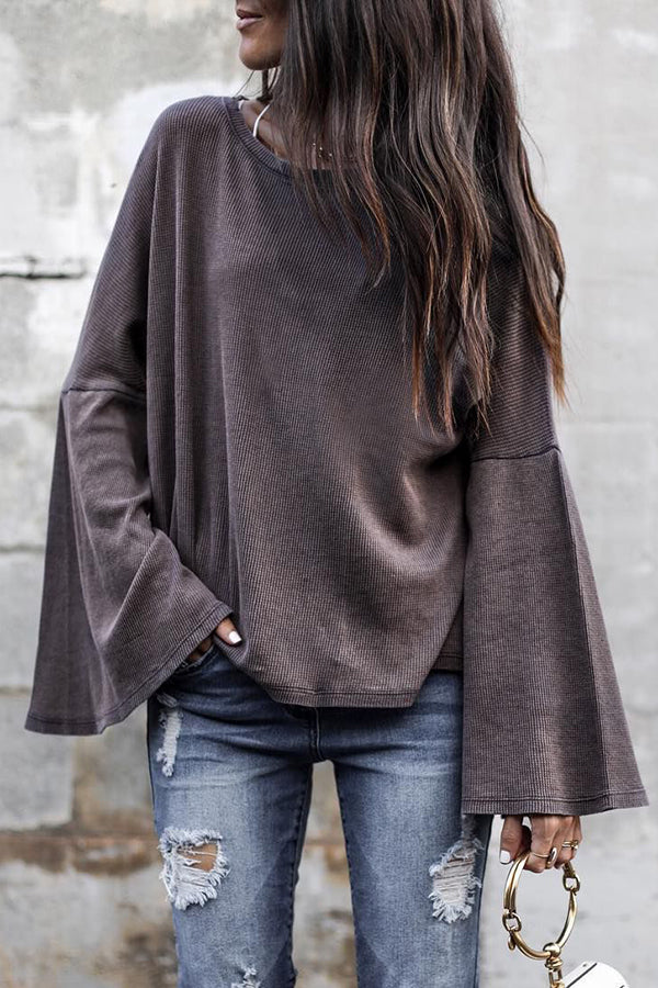 Flare Sleeve Round Neck Street Style Casual Blouse