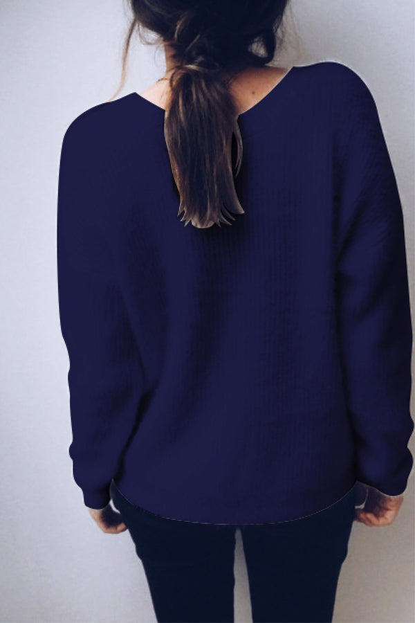 Solid Color Deep V-neck Casual Sweater