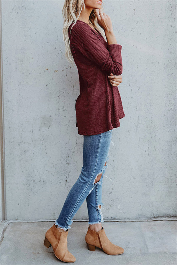V Neck Solid Color Button Top