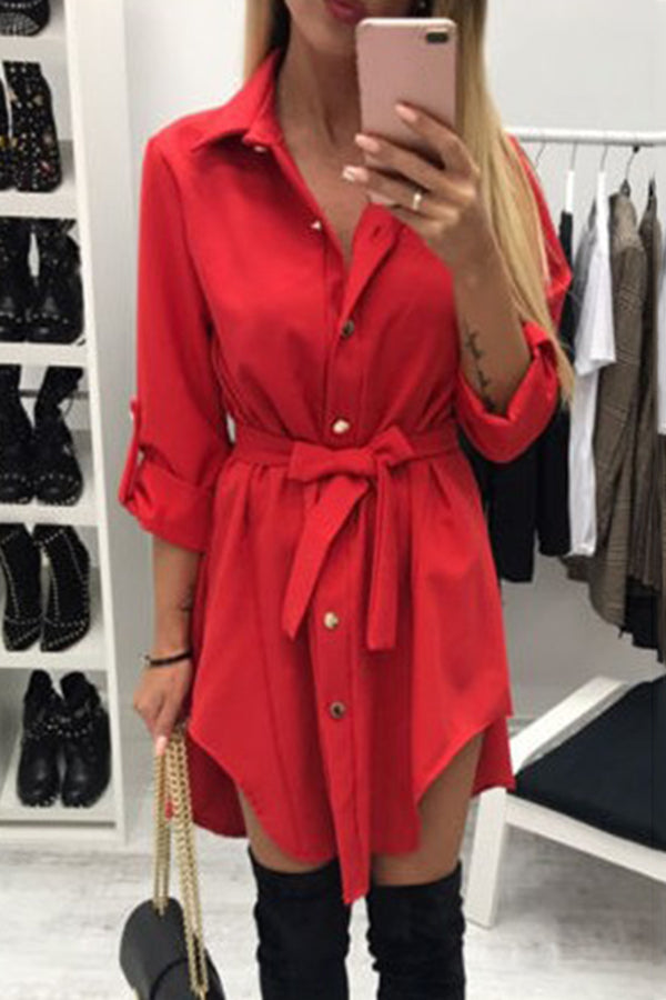 Irregular Hem Half Sleeve Turndown Collar Dress
