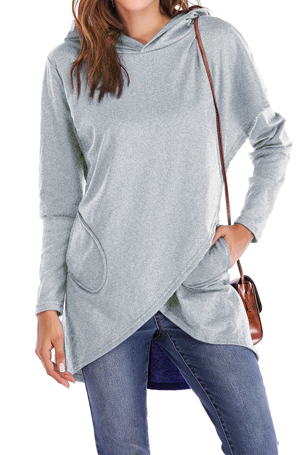 Hooded Irregular Hem Pocket Solid Color Cloak Hoodie