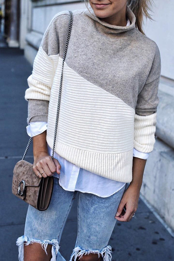 Knitted Heaps Collar Long Sleeve Patchwork Street Style Sweater