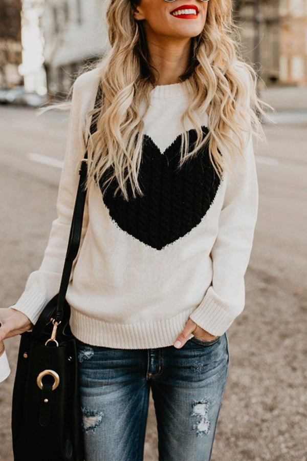 Heart-Shaped Round Neck Long Sleeve Casual Sweater
