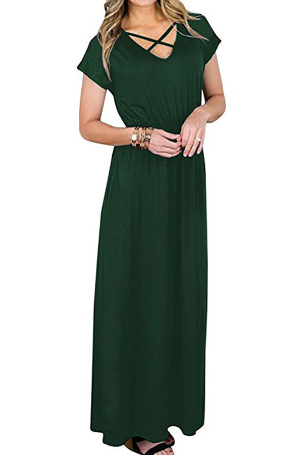 Solid Color V Neck Short Sleeve Criss Cross Maxi Dress