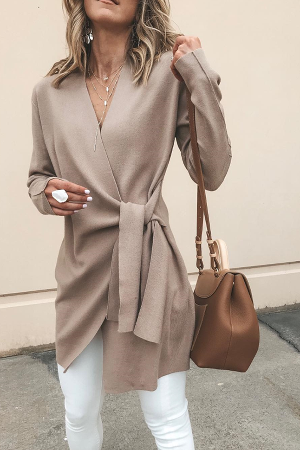 Solid Color Long Sleeve Belted Cardigan
