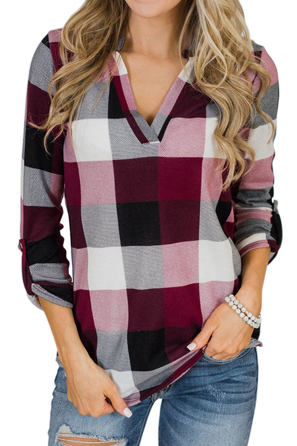 Casual Leopard Printed V-Neck Plaid Print Blouse