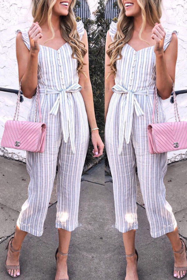 Blue Stripe Sleeveless Fashion Jumpsuit With belt
