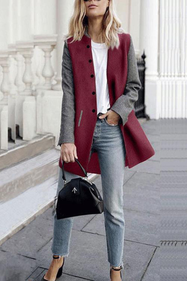 Trendy Color Splicing Button Pocket Winter Casual Coat