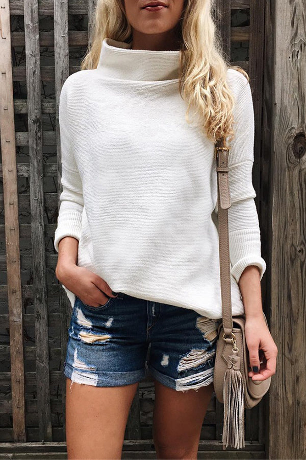 Solid Color Long Sleeve Casual Turtleneck White Sweater