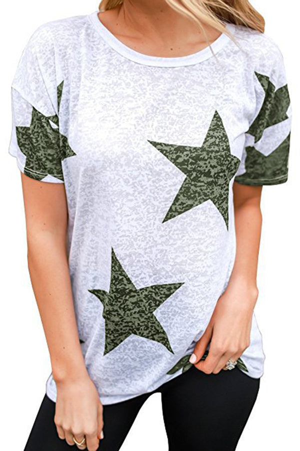 Star Printed Short Sleeve Casual Top