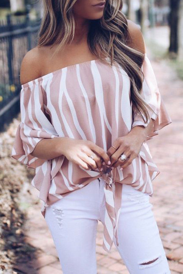 Trumpet Sleeve Stripe Bandage Casual Top